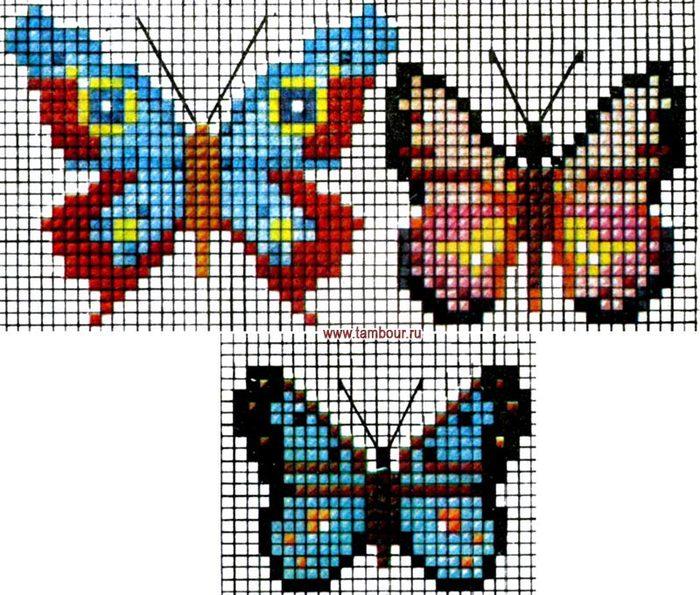 основы вышивания. схемы вышивки крестиком. аппликация. счетные швы.  Три схемы для вышивания бабочек.