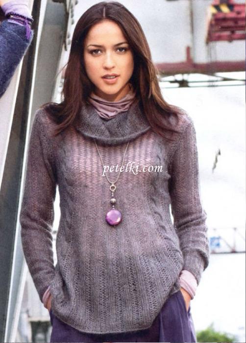 Новые схемы вязания спицами для женщин 2012: пуловер А образной формы, который вяжется прямыми и круговыми спицами.