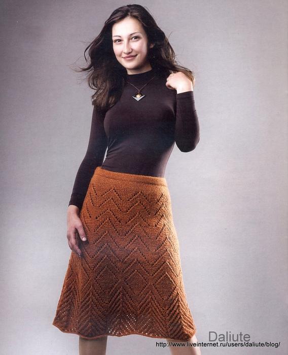 Ажурная юбка спицами.