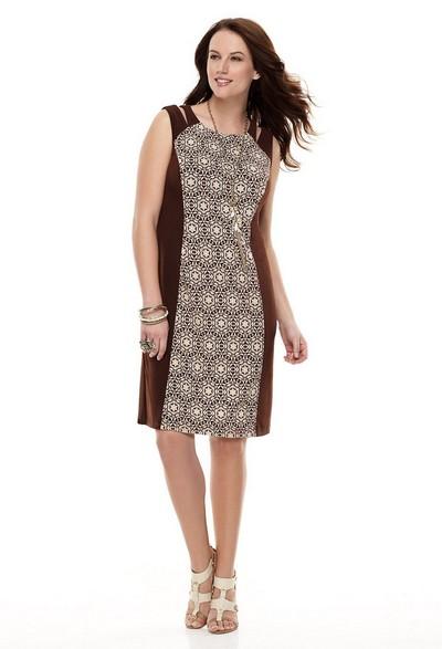 Модели и фасоны трикотажных платьев для полных.