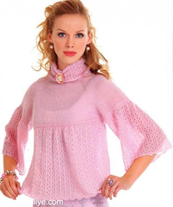 Спицы.Ажурный пуловер из мохера Нежный розовый жакет из тонкого мохера. . .