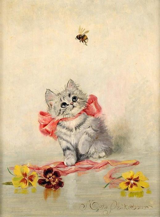Картинки кошек с открыток 853