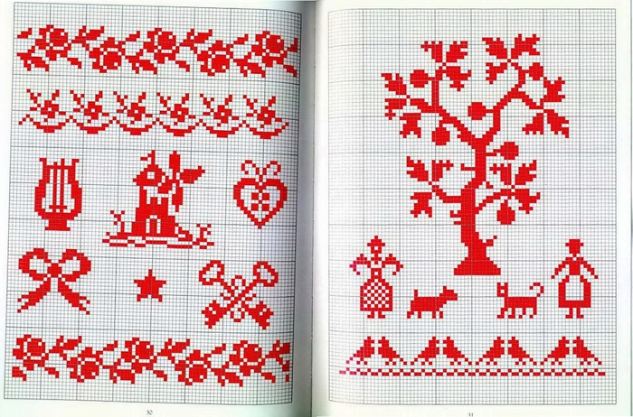 Схемы вышивки крестом миниатюры монохром 33