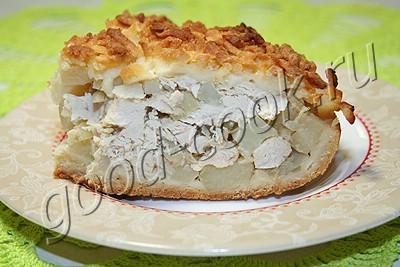 Пирог с курицей и картошкой из песочного теста рецепт с