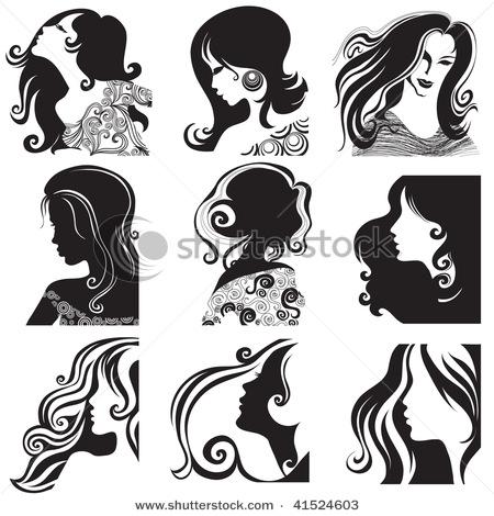 Женской головы модели векторного материала.  Ключевые слова женщина...
