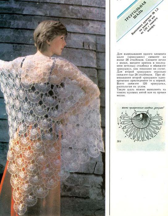 Вязание ракушек на вилке