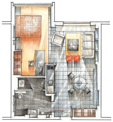 Квартира находится в Санкт-Петербурге, на верхнем этаже новостройки.  Здесь интересно реализовали кухню...