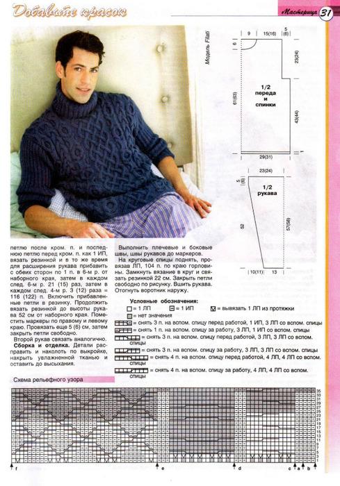 Вязание на спицах мужского пуловер 516