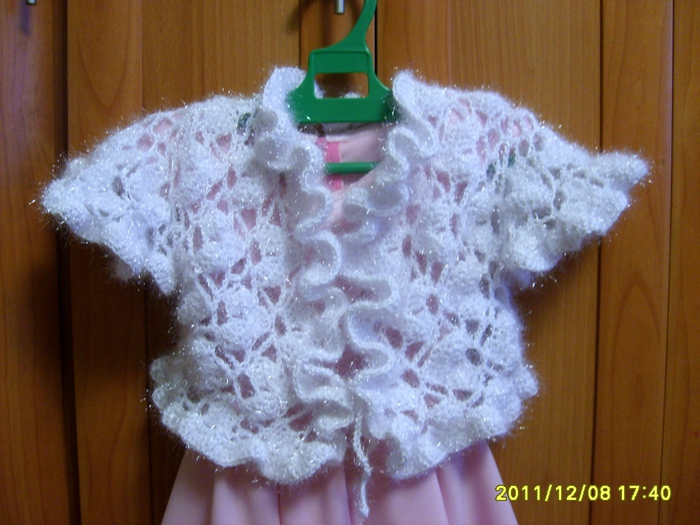 "crochet bolero ""snow wonder"" for girls"