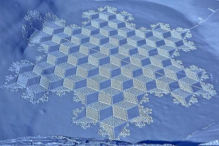 Современный французский художник Симон Бек и его узоры на снегу 8 (700x467, 124Kb)