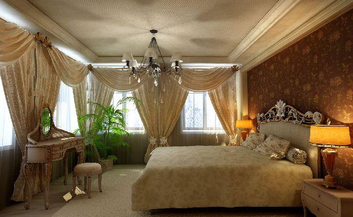 Дизайн-проект интерьера спальни в коттедже.
