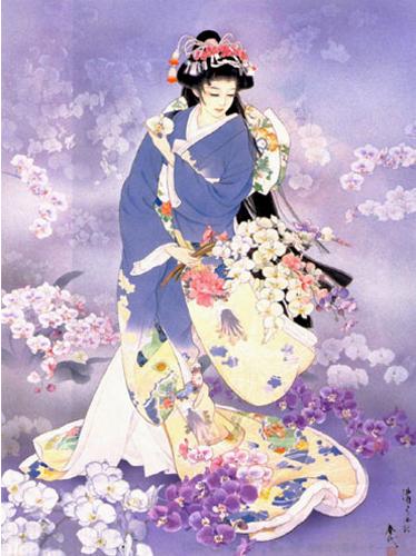 Японка в голубом