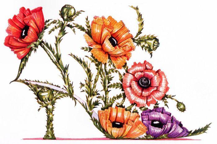 """Предпросмотр - Схема вышивки  """"Цветочная туфелька """" - Схемы автора  """"MargaritaV """" - Вышивка крестом."""