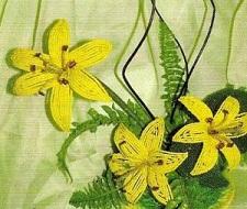 Урок по плетению желтых цветов лилий из бисера с фото и схемами.