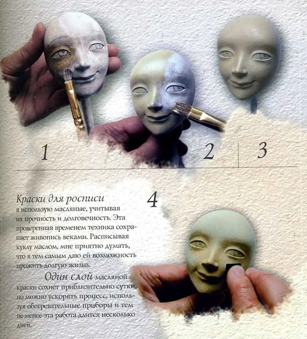 Как сделать лицо кукле из папье-маше