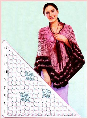 Вам потребуется: 500г пряжи розовогос цвета и по 150гс вишневого и бордо-' вого цветов; крючок 2. Шаль с отделкой.