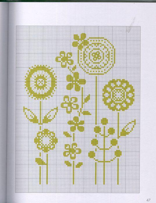 Вышивки монохром цветы 24