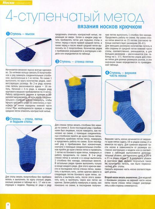 Как связать носки крючком схема с