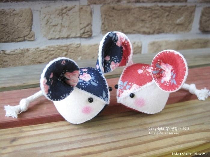 Мышки из декоративного войлока (10) (700x524, 240Kb)