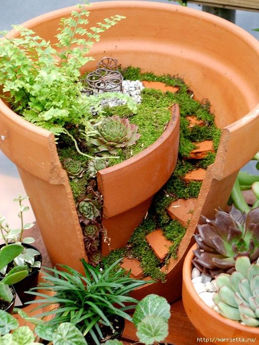 Миниатюрный сад из цветочного горшка. Идеи (14) (525x700, 349Kb)