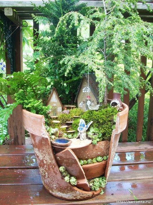 Миниатюрный сад из цветочного горшка. Идеи (5) (525x700, 340Kb)