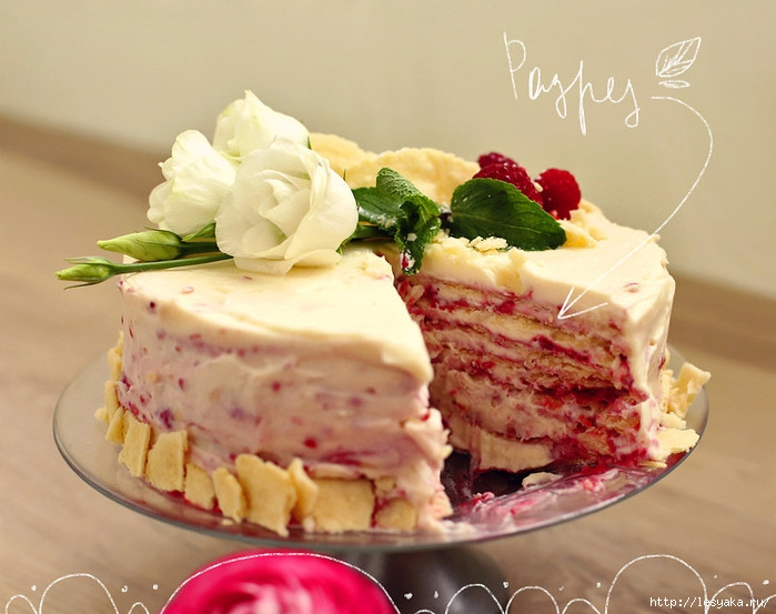 Торт наполеон с малиной рецепт