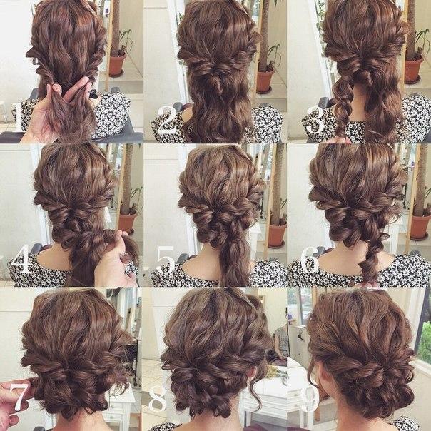 Прическа на средние волосы собранные своими руками