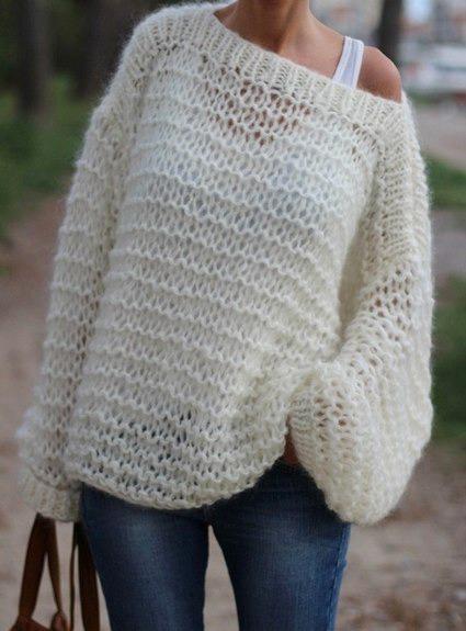 Женский свитер крупной вязки спицами: выбор пряжи, схемы узоров и.