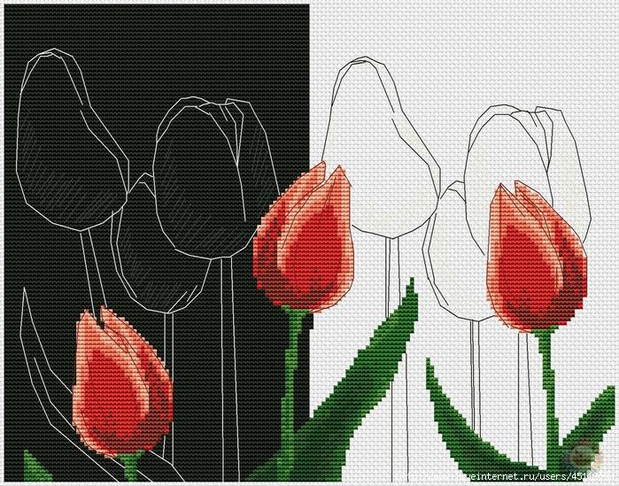 Вышивка красные цветы на черном фоне 92