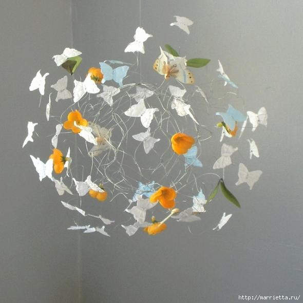 Панно с бабочками из бумаги (2) (590x590, 213Kb)