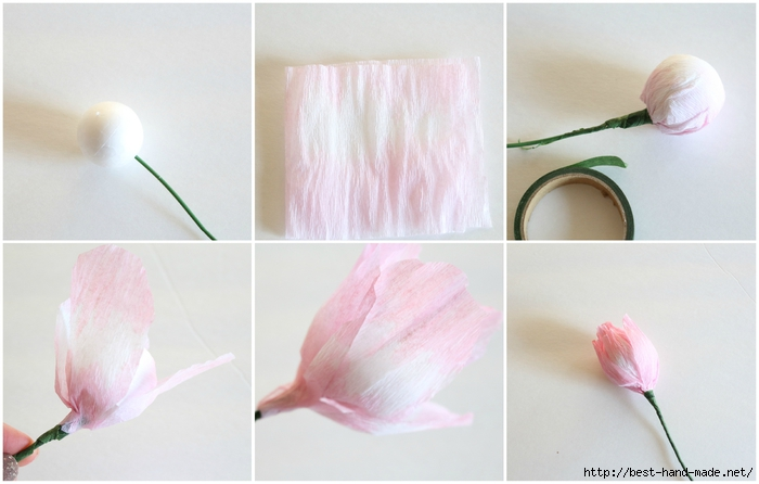 Цветы из крепированной тонкой бумаги