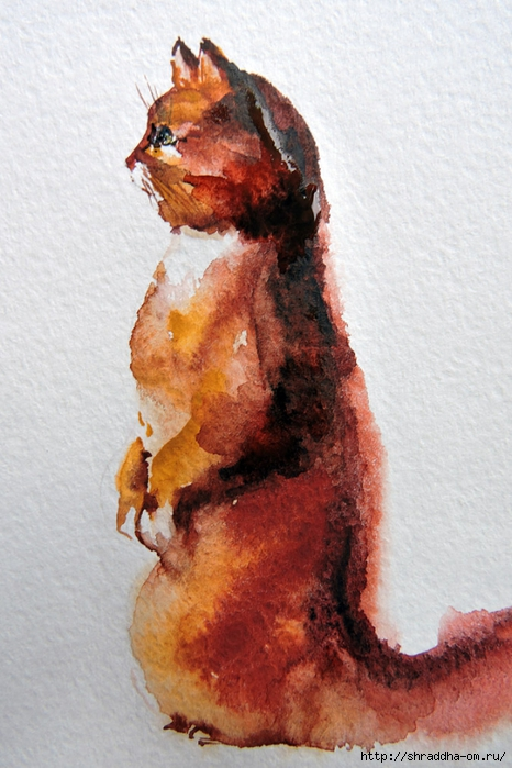 акварель, кот рыий, от Shraddha (3) (466x700, 262Kb)