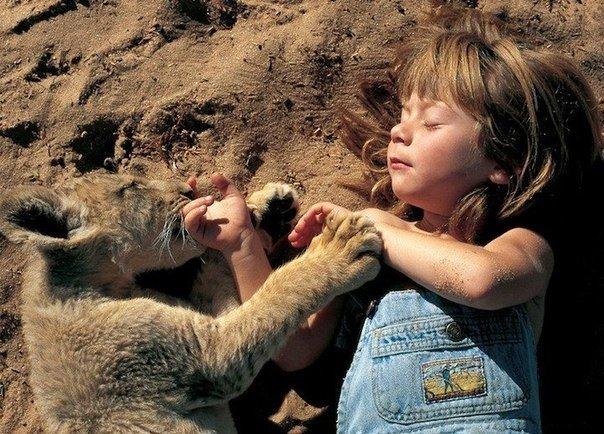 Девочка с африканскими животными (604x434, 330Kb)