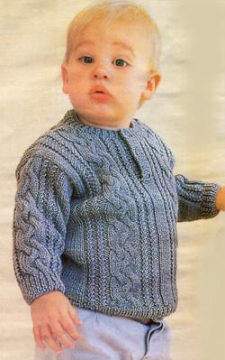 Пуловер для мальчика спицами 1-2 года 42
