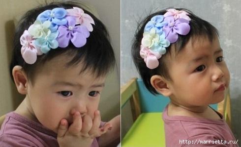 Украшение с цветами из лент для маленькой девочки (5) (490x300, 86Kb)