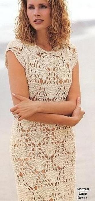 Летняя мода. Платье связанное