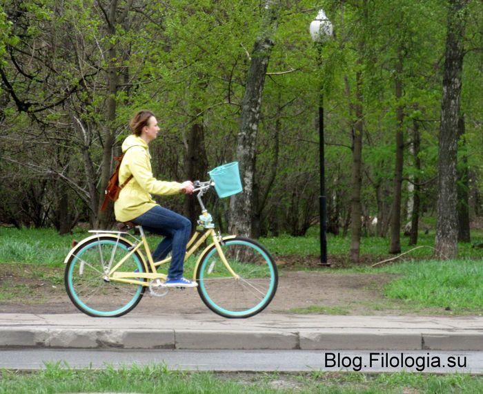 Девушка на велосипеде в парке (700x570, 92Kb)