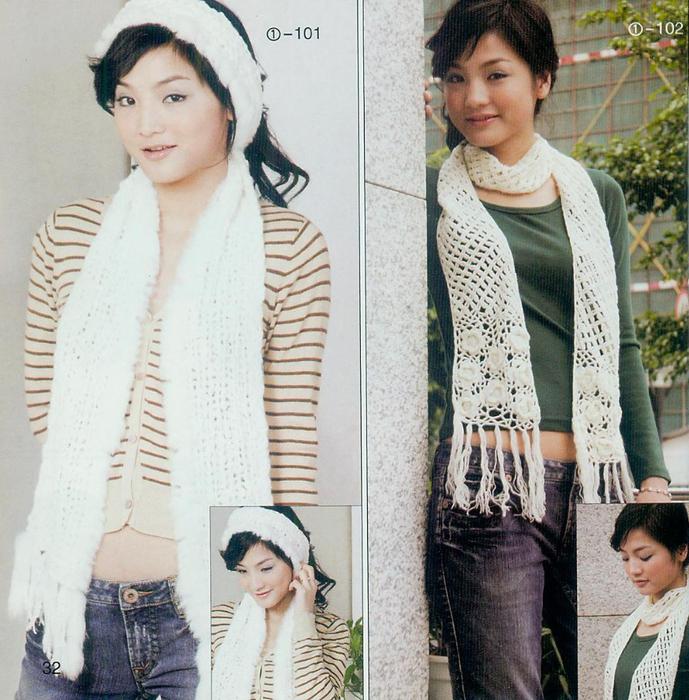 схемы вязания шарфов женских