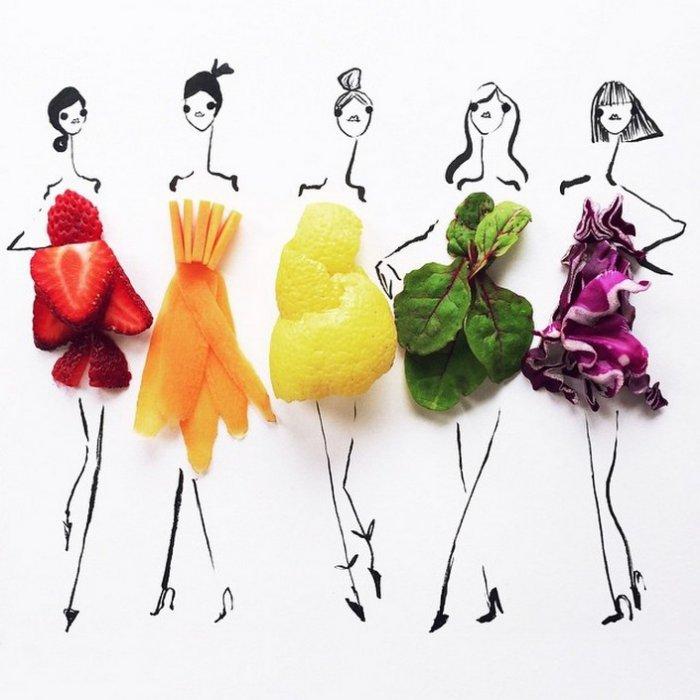 прикольные платья из овощей и фруктов Гретхен Роерс 1 (700x700, 229Kb)