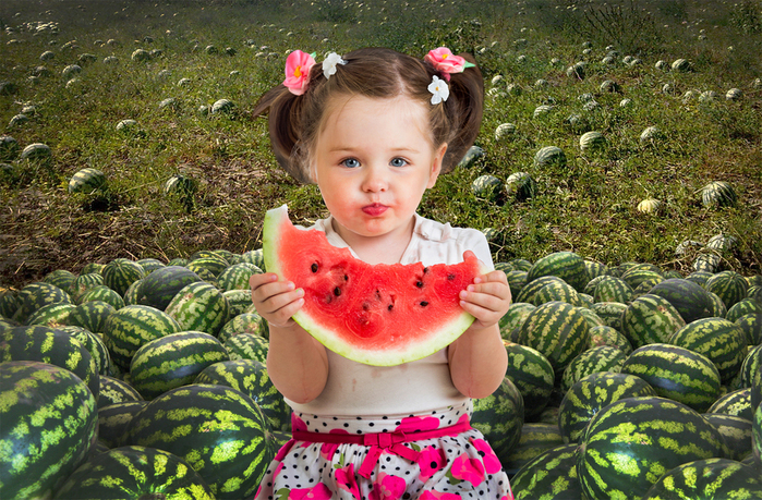 Шаблон для фотошопа - девочка в поле с арбузами (700x459, 527Kb)