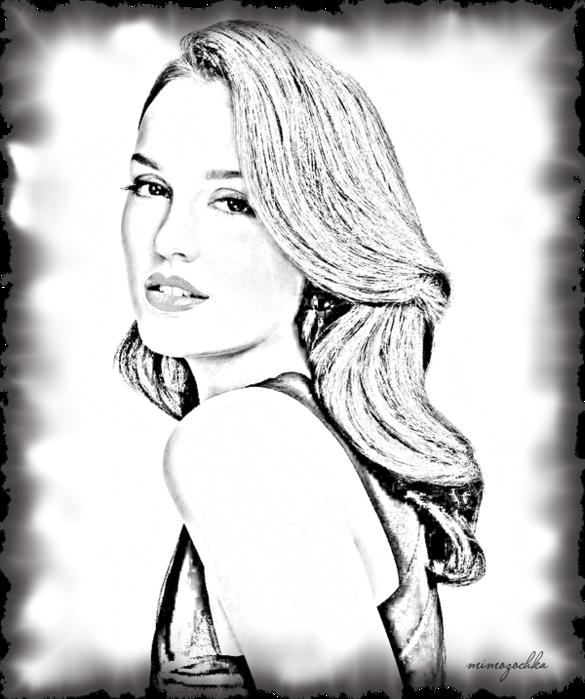 карандашный рисунок,девушка (585x700, 399Kb)