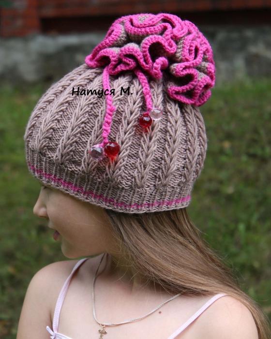 Вязание крючком шапочка для девочки для осень 7