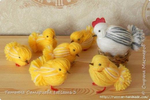 Курочки и цыплята из пряжи. Мастер-класс (2) (520x347, 105Kb)