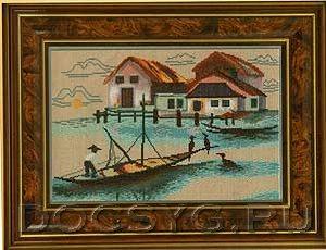 схема вышивки Рыбацкая деревня (300x230, 86Kb)