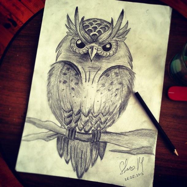 Филин рисовать карандашом
