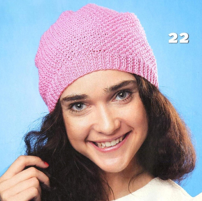 Вязание шапки жемчужным узором