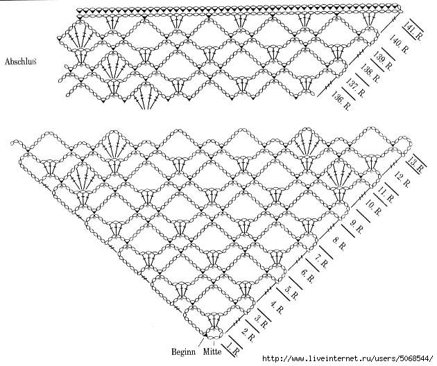 Вязание крючком шали схемывидео