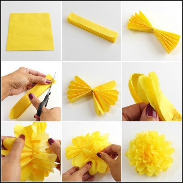 Как сделать цветы из гофрированной бумаги на стену
