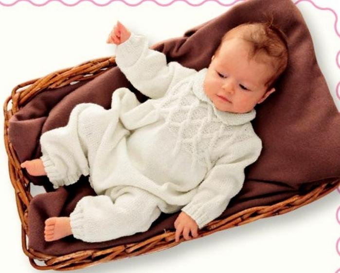 Вязание спицами на новорожденных девочек комбинезон 253