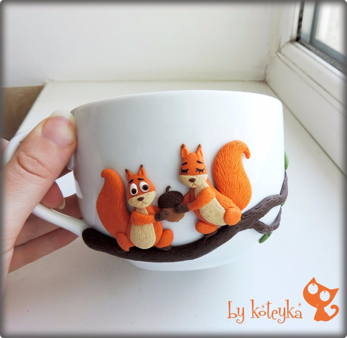 Декор чашки из полимерной глины мастер класс